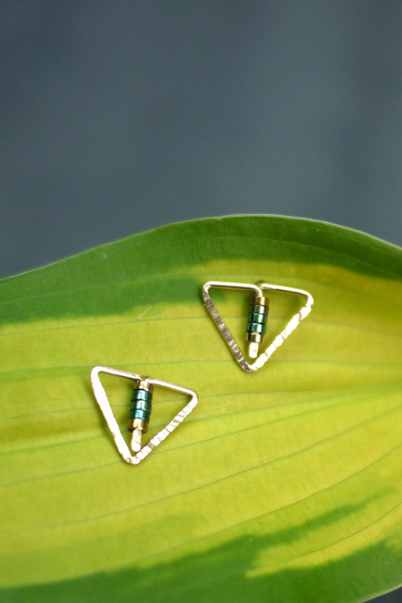 Gold Tiny Triangle Post Earrings