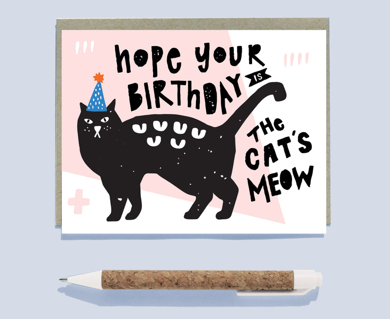 Cat's Meow Illustrated Birthday Card