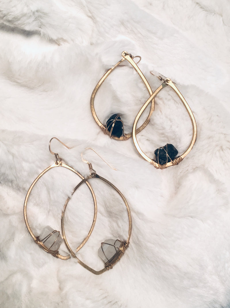 Single Stone Angled Drop Hoop Earrings