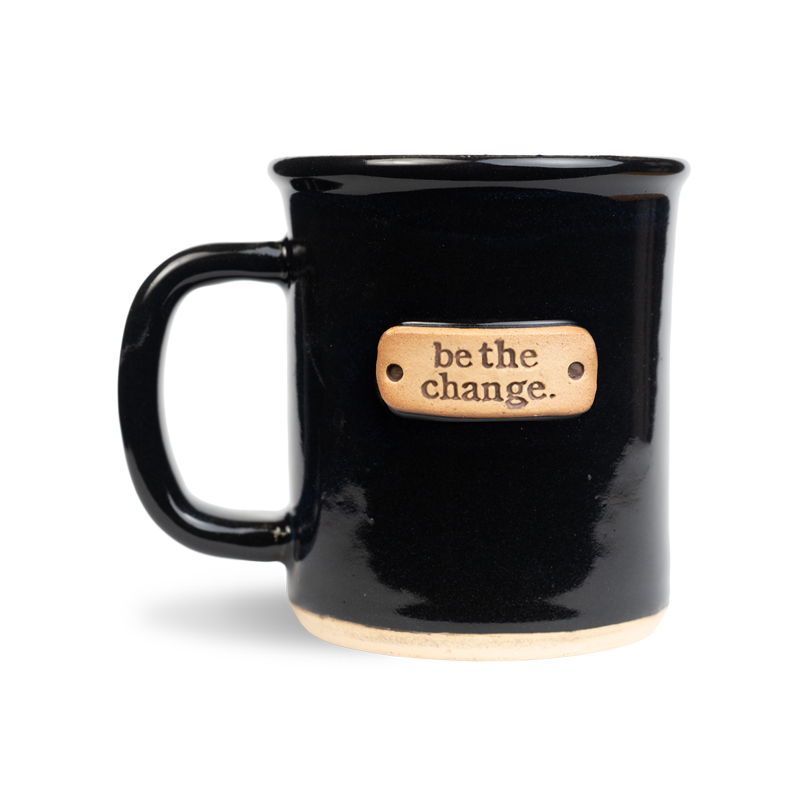 be the change stamped on a wheel thrown ultramarine midnight black mug