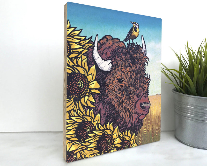 Bison Wood Wall Art by Two Little Fruits