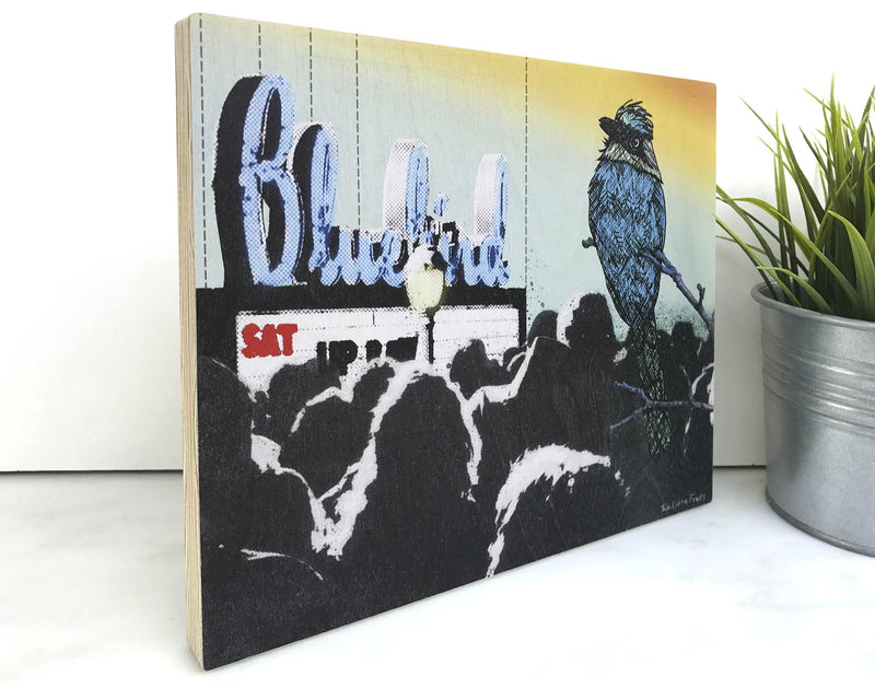 Bluebird Theatre Art Print on Wood by Two Little Fruits
