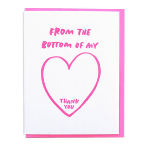 Bottom of my heart letterpress thank you card