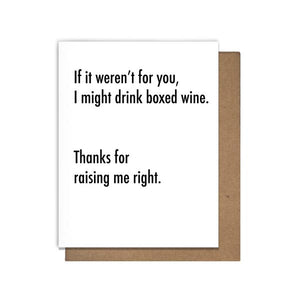 Box Wine Letterpress Greeting Card