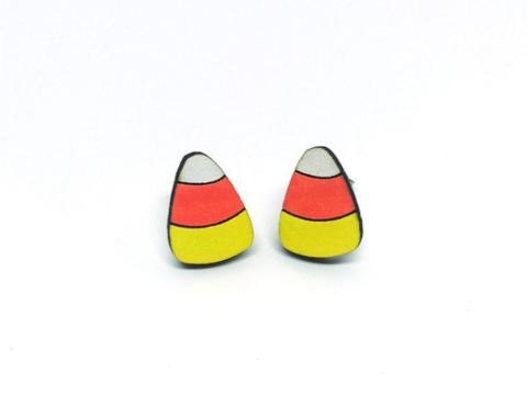 Silly Candycorn Wood Earrings