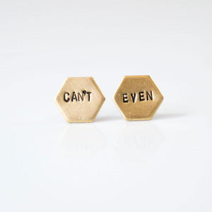Can't Even Hexagon Brass Stud Earrings