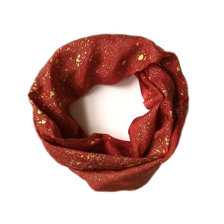 Red & Gold Silk Infinity Scarf