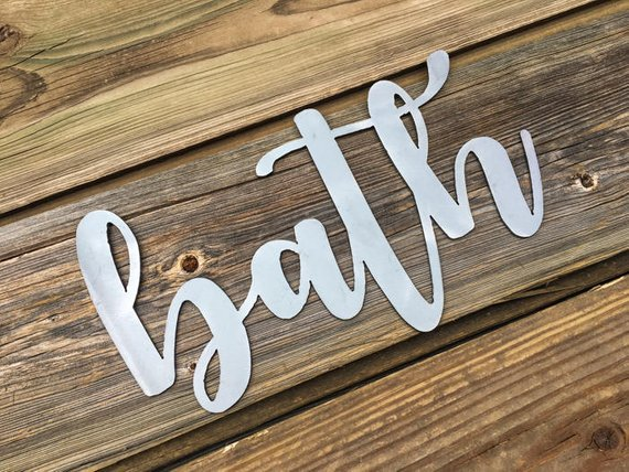 Bath Metal Word Sign
