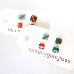 Mismatched Fused Glass Earring Set