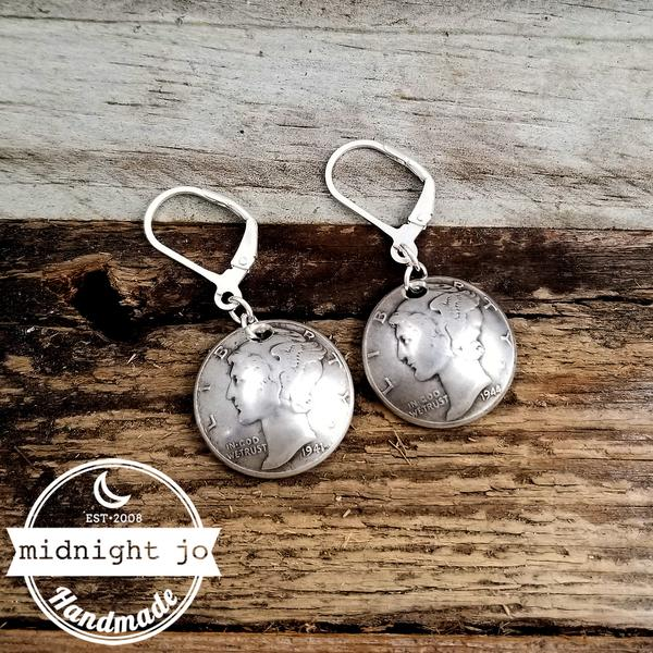 Mercury Dime Drop Earrings