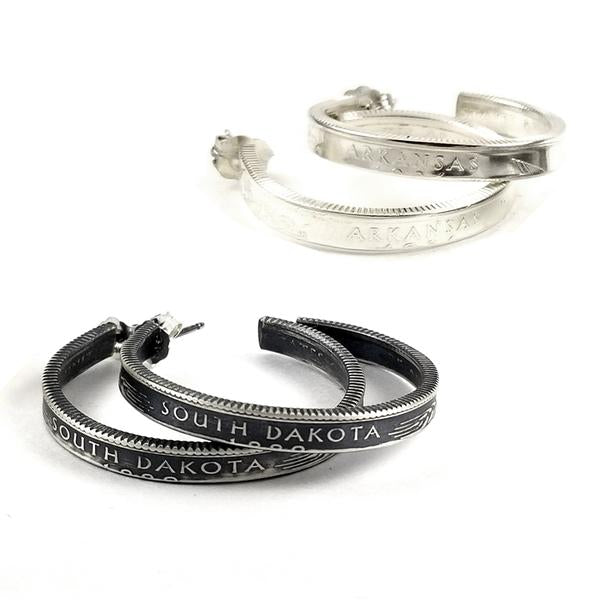 "1.25"" Silver Hoop earrings made from Colorado quarters"