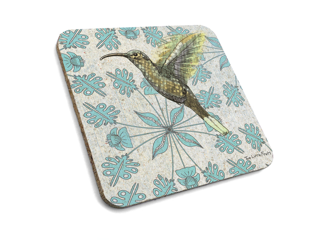 Floral Hummingbird Cork Coaster Set