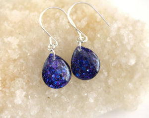 Blue Glitter Resin Tear Drop Earrings