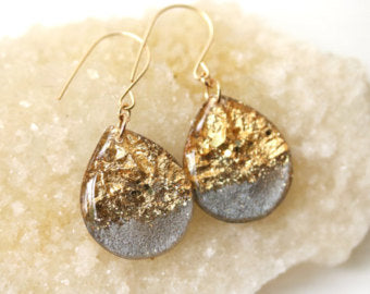 tear drop gold and grey earrings