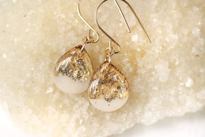 White Resin and Gold Leaf Earrings