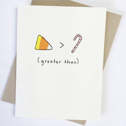 Candy corn greater than candy cane card