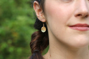 Resin and Gold Leaf Oval Drop Earrings
