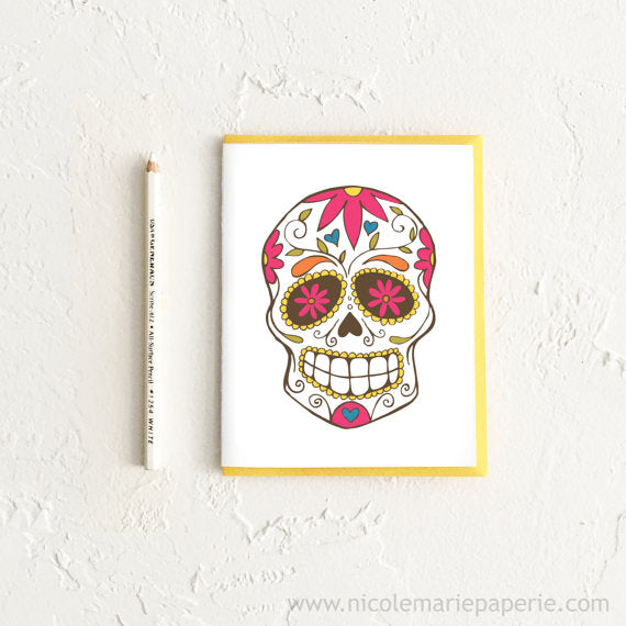 Colorful Sugar Skull Dia de los Muertos Card