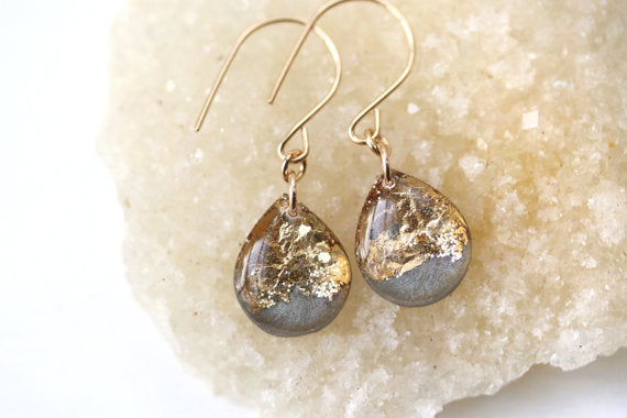Handmade Resin and Gold Grey Earrings
