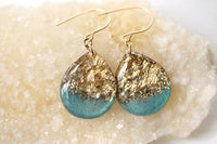 Teal and gold leaf tear drop earrings