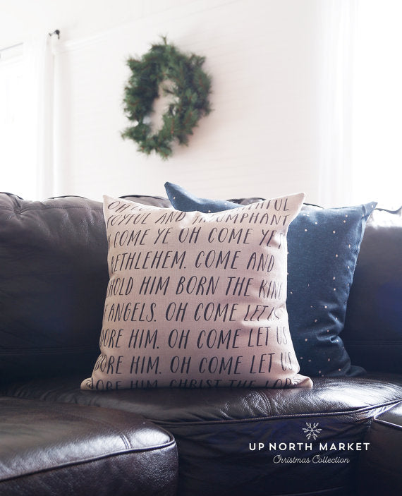 "Oh Come All Ye Faithful 18"" Pillow"