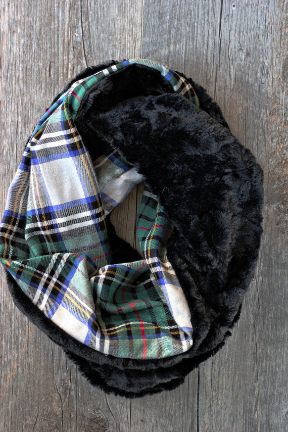 Plaid Faux Fur Infinity Scarf