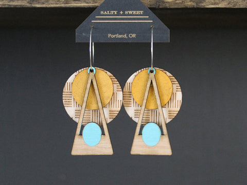 Yellow Deco Laser Cut Earrings