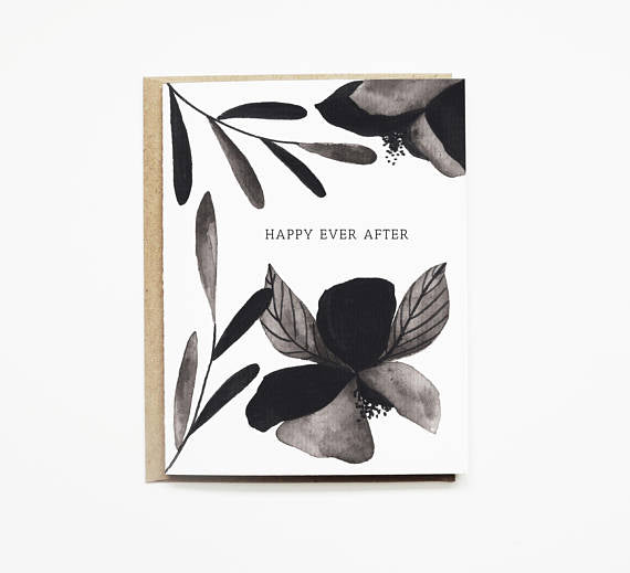 Black and White Floral Happy Ever After Wedding Card
