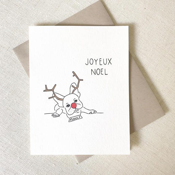 French Bulldog Joyeux Noel Card