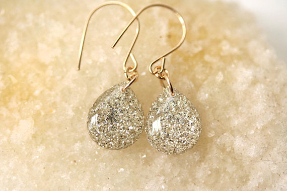 White Glitter Tear Drop Earrings