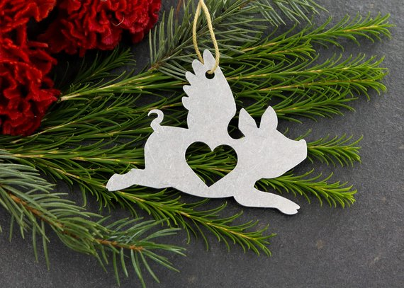 Flying Pig Christmas Ornament