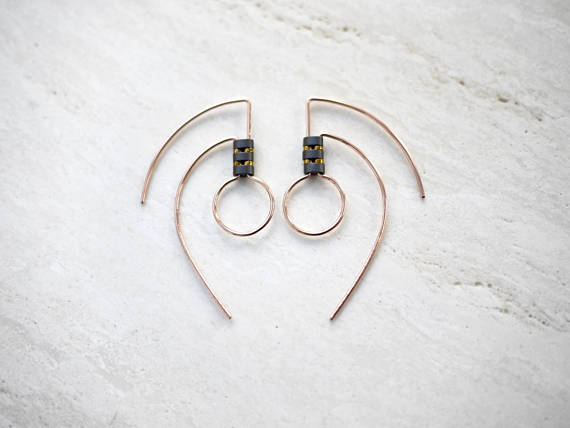 Rose Gold Art Deco Tribal Earrings