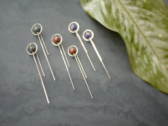 Circle and Stone Stick Earrings