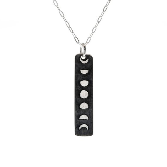 Moon Phases Skinny Bar Necklace