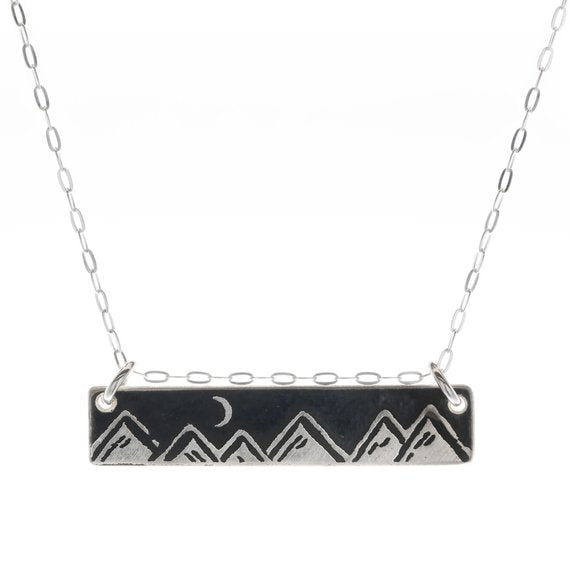 Moonlit Mountains Bar Necklace