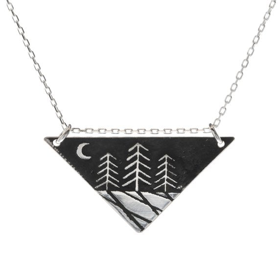 Zen Night Forest Triangle Necklace
