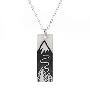Winter Ski Slope Skinny Bar Necklace