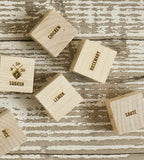 Wooden, Laser-engraved Foodie Dice