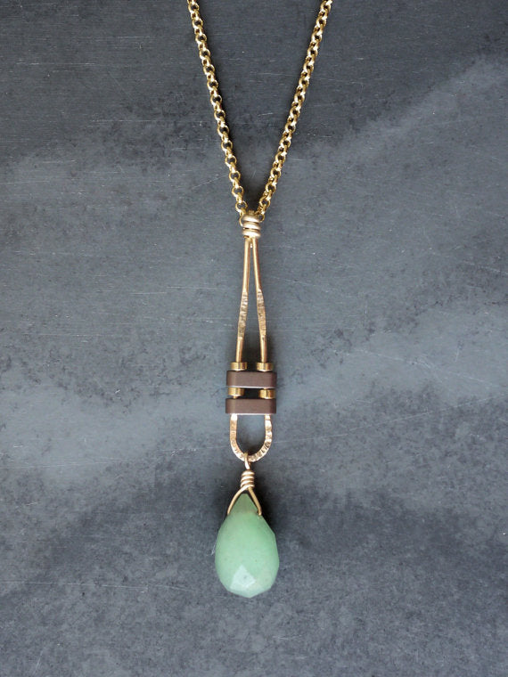 Gold Gemstone Drop Necklace