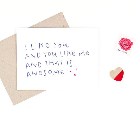 """I like you and you like me"" card"