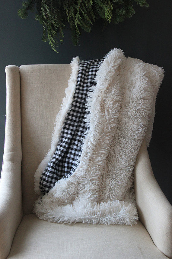 Gingham and faux fur blanket