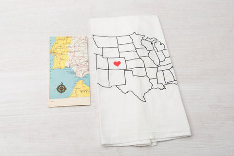 US map next to Heart in Colorado Map Tea Towel