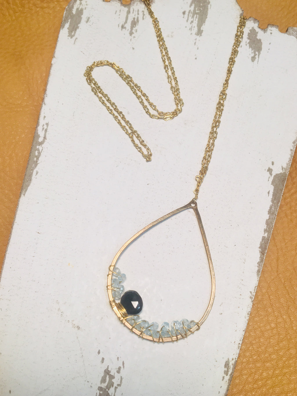 Long Teardrop and Gemstone Necklace