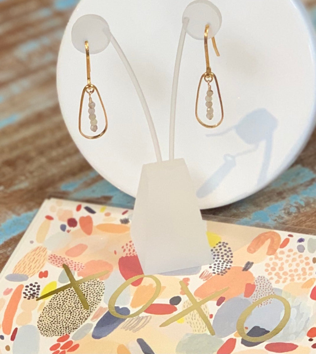 Gold and Labradorite Teardrop Earrings with an XOXO red cap card