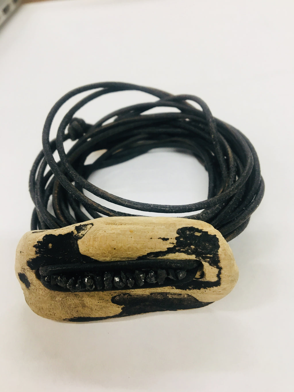 handmade black diamond driftwood leather wrap bracelet