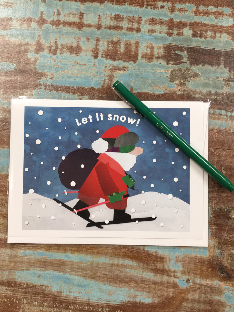 Santa on Skis Card
