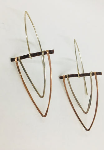 Handmade Rose Gold and Sterling Silver Chevron Earrings