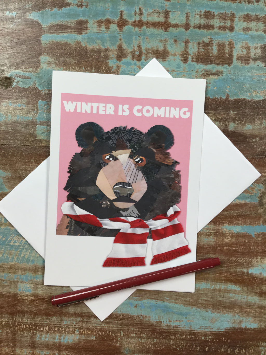 winter is coming bear in scarf card