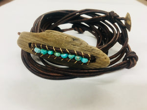 Leather wrap turquoise driftwood wrap bracelet