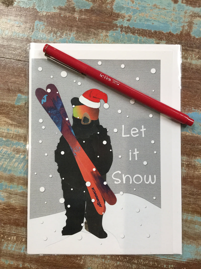Let it Snow Bear With Skis Card